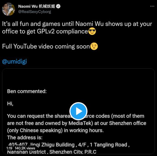 Screenshot of the tweet, Naomi's tweet of the video she made